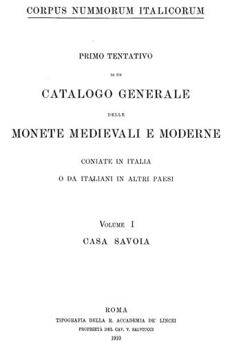 Frontespizio Vol. I - Casa Savoia