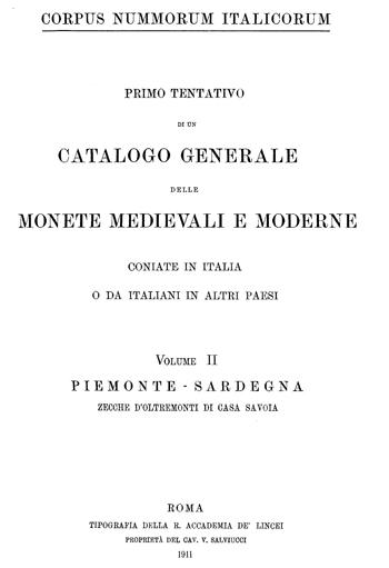 Frontespizio Vol. II - PIEMONTE-SARDEGNA (zecche d'oltremonti di Casa Savoia)
