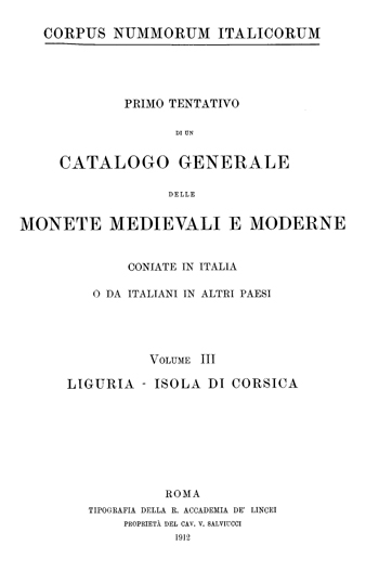 Frontespizio Vol. III - LIGURIA - ISOLA DI CORSICA