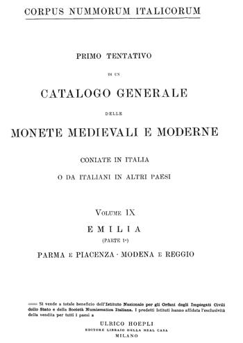 Frontespizio Vol. IX - EMILIA (Parte I) Parma e Piacenza Modena e Reggio
