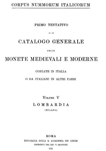 Frontespizio Vol. V - LOMBARDIA (Milano)