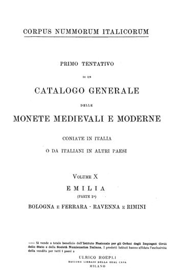 Frontespizio Vol. X - EMILIA (Parte II) Bologna e Ferrara Ravenna e Rimini