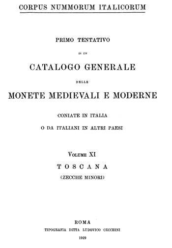 Frontespizio Vol. XI - TOSCANA (zecche minori)