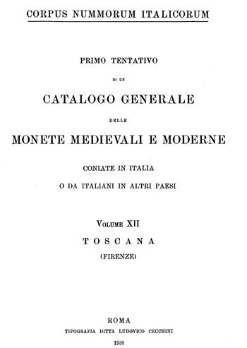 Frontespizio Vol. XII - TOSCANA (Firenze)