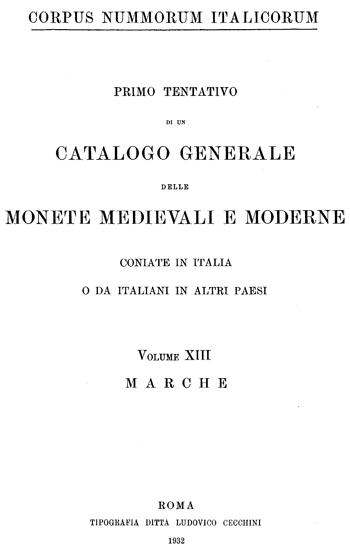 Frontespizio Vol. XIII - MARCHE