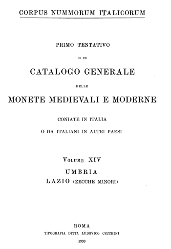 Frontespizio Vol. XIV - UMBRIA - LAZIO (zecche minori)