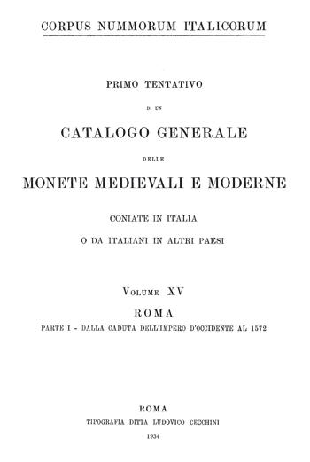 Frontespizio Vol. XV - Roma, Parte I (dalla caduta dell' Impero d' Occidente al 1572)