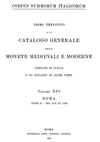 Frontespizio Vol. XVI - Roma, Parte II (dal 1572 al 1700)