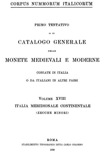 Frontespizio Vol. XVIII - ITALIA MERIDIONALE CONTINENTALE (zecche minori)
